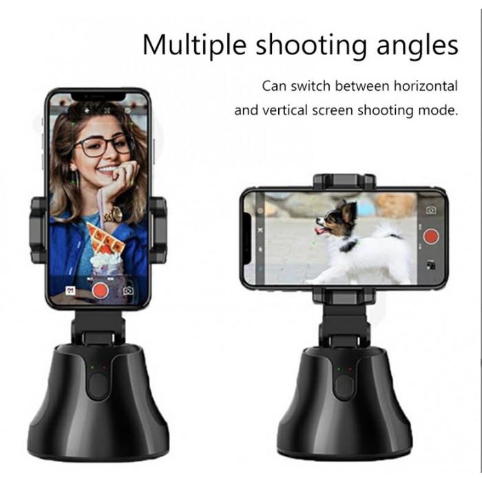 Auto Tracking Smart Shooting Phone Holder 360 Degree Rotation Auto Face Tracking Holder - Black