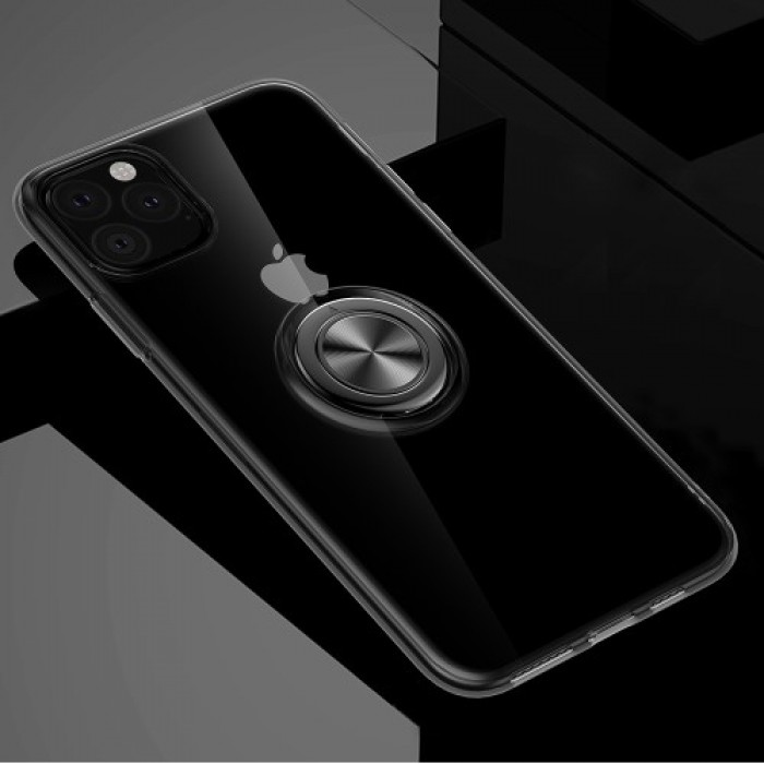 Rotating Finger Ring Kickstand TPU Back Case (Built-in Magnetic Metal Sheet) for iPhone (2019) 5.8-inch - Black
