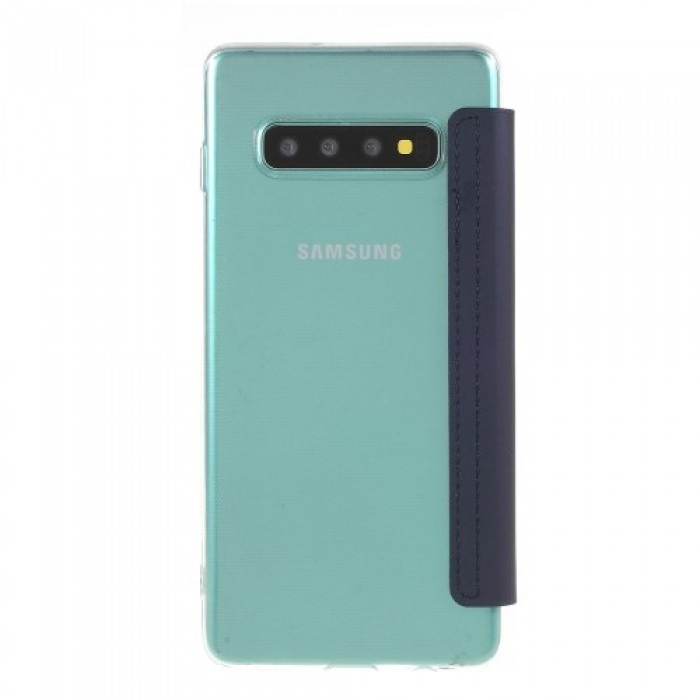 For Samsung Galaxy S10 Ultra with Mirror Leather Cell Phone Cover - Dark Blue