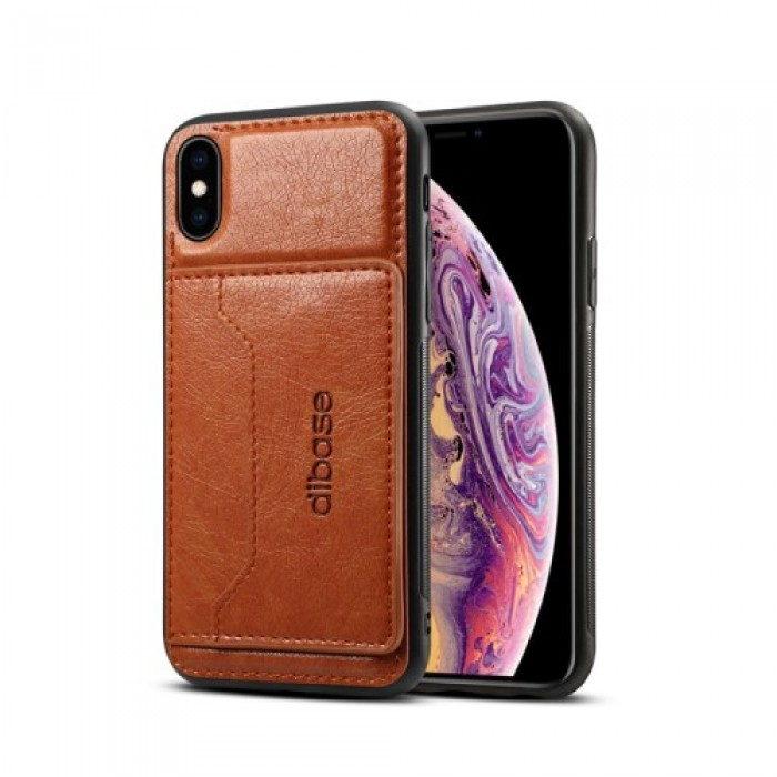 Crazy Horse Leather Coated PC + TPU Combo Card Slot Casing with Kickstand for iPhone XS 5.8 inch - Brown