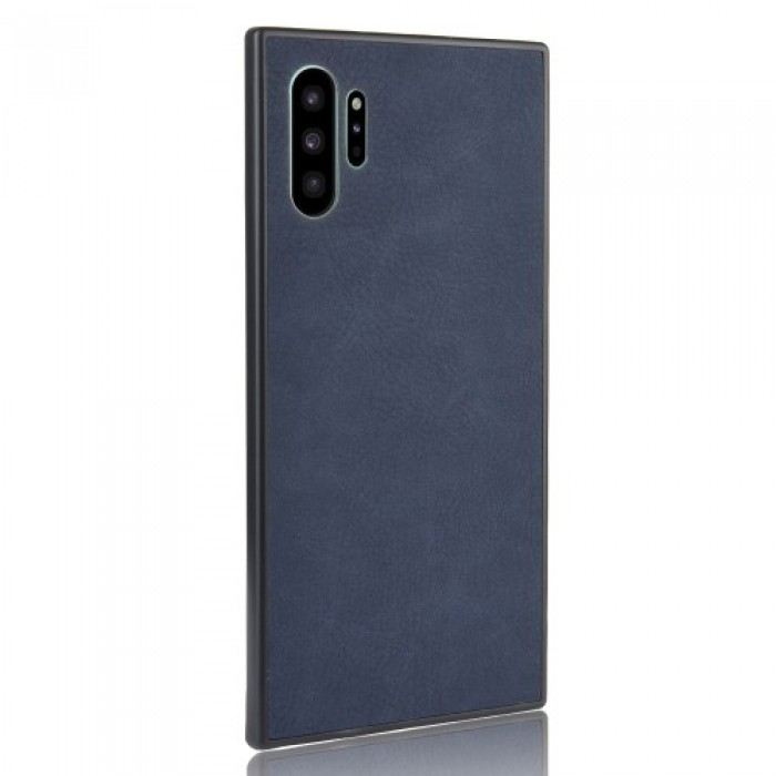 TPU Frame PC Back Coated with PU Leather Phone Case for Samsung Galaxy Note 10 Plus - Blue