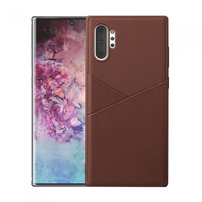 Shock-absorbing PU Leather Coated TPU Phone Case for Samsung Galaxy Note 10 Plus - Brown