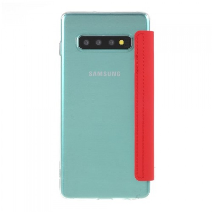For Samsung Galaxy S10 Ultra with Mirror Leather Cell Phone Cover - Red