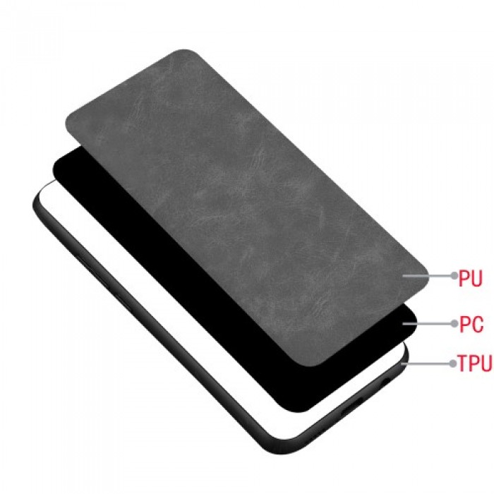 PC Coated with PU Leather + TPU Frame Phone Case for Samsung Galaxy Note 10 - Black