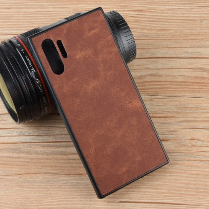 TPU Frame PC Back Coated with PU Leather Phone Case for Samsung Galaxy Note 10 Plus - Brown