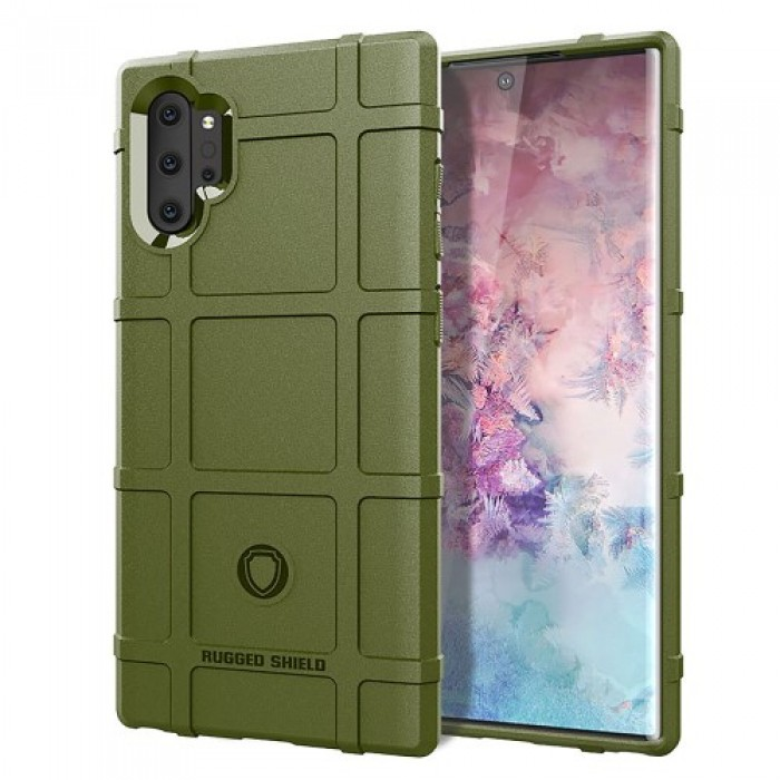 Anti-shock Square Grid Texture TPU Case for Samsung Galaxy Note 10 Plus - Army Green