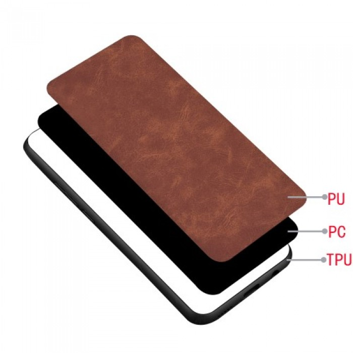 PC Coated with PU Leather + TPU Frame Phone Case for Samsung Galaxy Note 10 - Brown