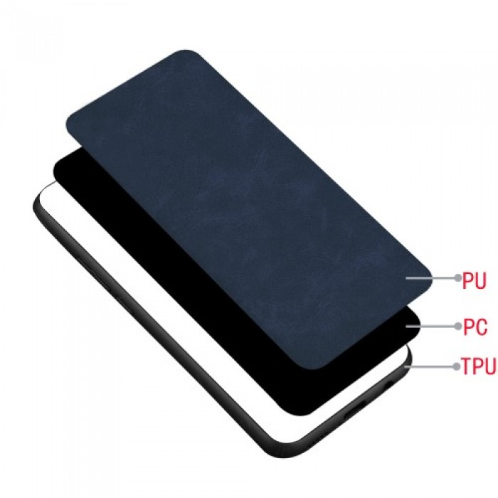 PC Coated with PU Leather + TPU Frame Phone Case for Samsung Galaxy Note 10 - Blue