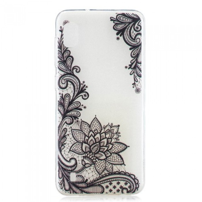 Pattern Printing TPU Case for Samsung Galaxy A10 - Black Flower