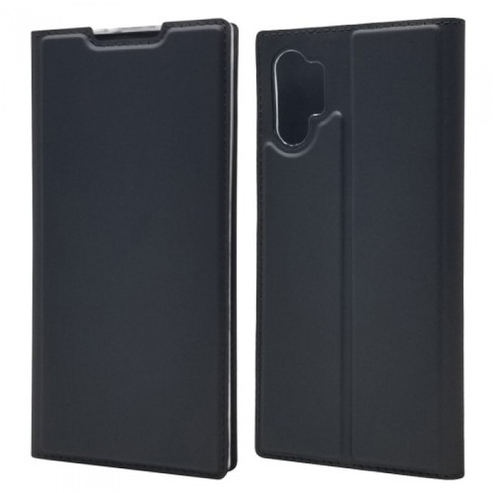 Magnetic Adsorption Leather Card Holder Phone Shell for Samsung Galaxy Note 10 Plus - Black
