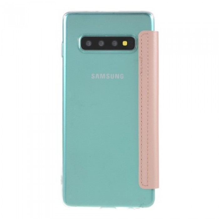 For Samsung Galaxy S10 Ultra with Mirror Leather Cell Phone Cover - Pink