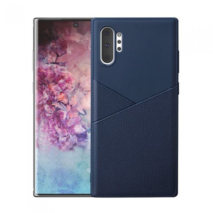 Shock-absorbing PU Leather Coated TPU Phone Case for Samsung Galaxy Note 10 Plus - Blue