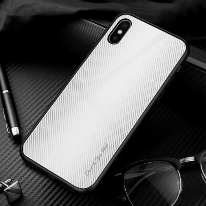 Texture Gradient Tempered Glass Back + Soft TPU Edge Phone Cover for iPhone XS Max 6.5 inch - Light Grey/White