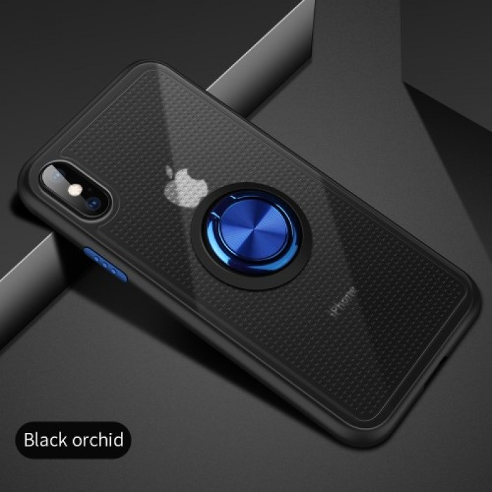Finger Ring Kickstand TPU + Plastic Hybrid Phone Case [Built-in Magnetic Metal Sheet] for iPhone X / XS - Dark Blue.    Free Delivery.