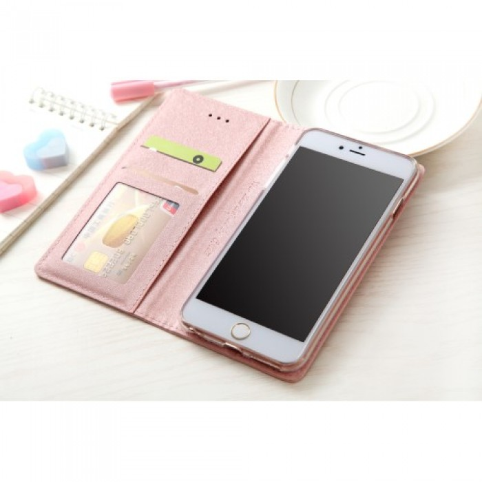 CMAI2 Silk Texture Series Leather Phone Cover for iPhone 8 / 7 4.7 inch - Pink.    Free Delivery