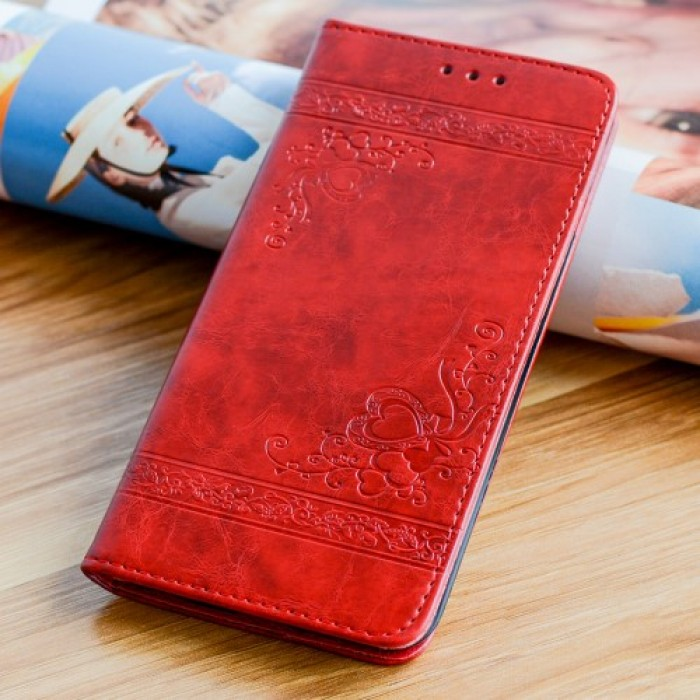 Imprint Flower Heart Leather Wallet Mobile Cover for iPhone 8 / 7 - Red.      Free Delivery.