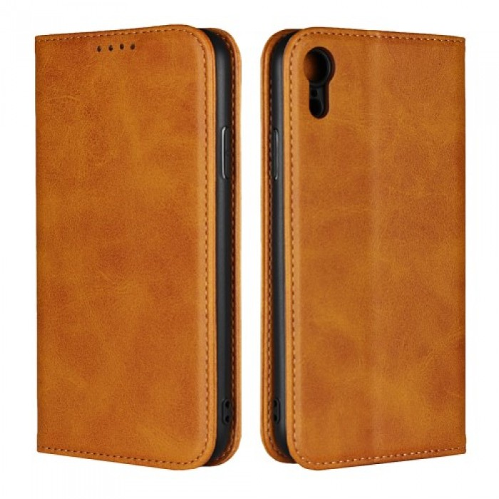 Magnetic Case Stand Leather Wallet Cover for iPhone XR 6.1 inch - Brown. .   Free Delivery