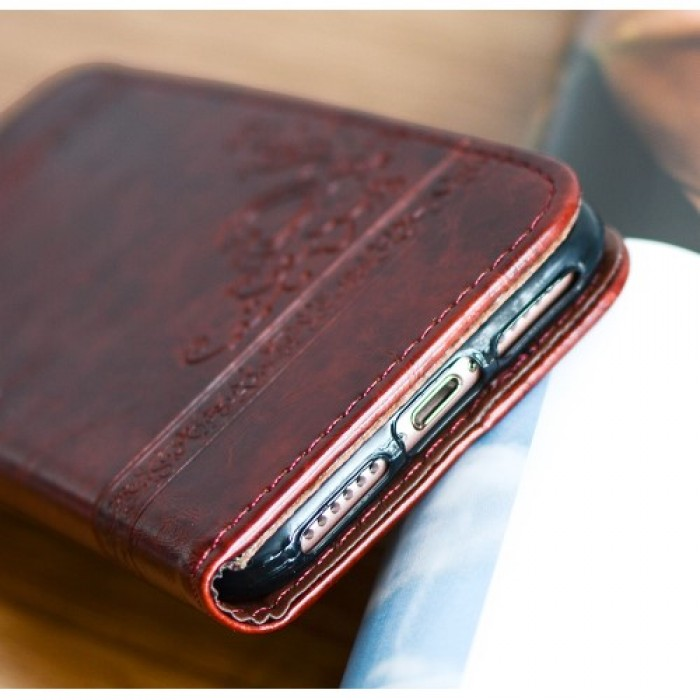Imprint Flower Heart Leather Wallet Protective Case for iPhone 8 / 7 - Coffee.    Free Delivery