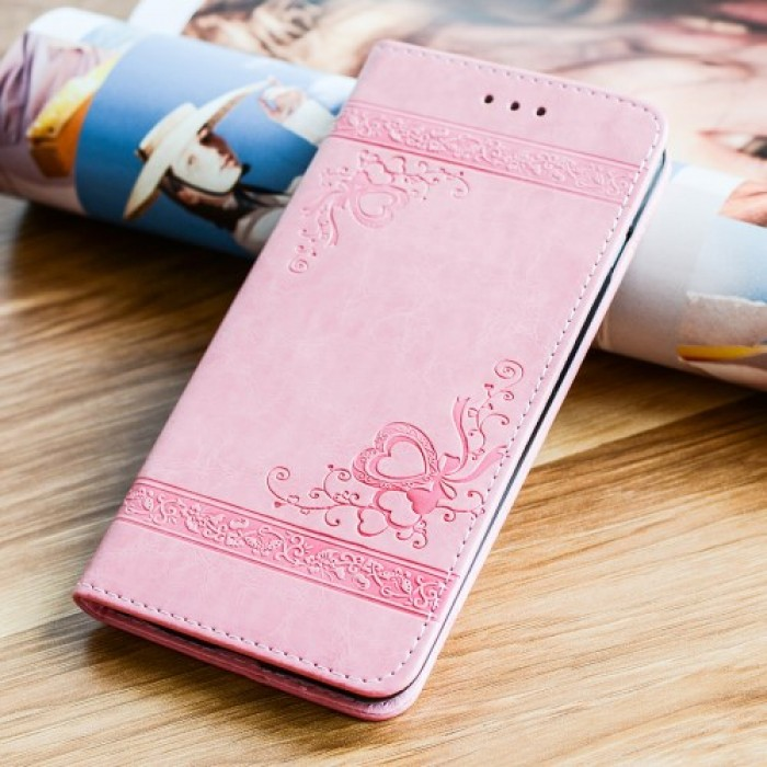 Imprint Flower Heart Leather Wallet Mobile Shell for iPhone 8 / 7 - Pink.   free delivery.