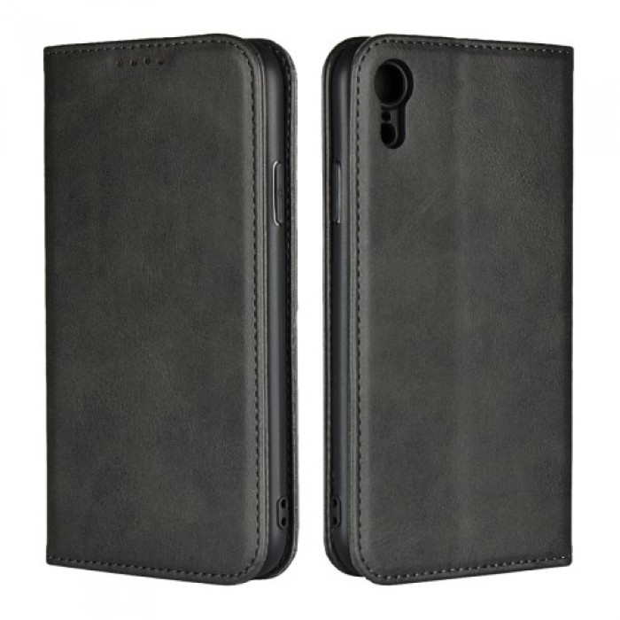 Magnetic Stand Leather Wallet Case for iPhone XR 6.1 inch - Black.    Free Delivery