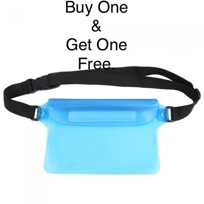 Waterproof Swim Drift Diving Bag Underwater Dry Shoulder Waist Belt Pocket Pouch - Cyan
