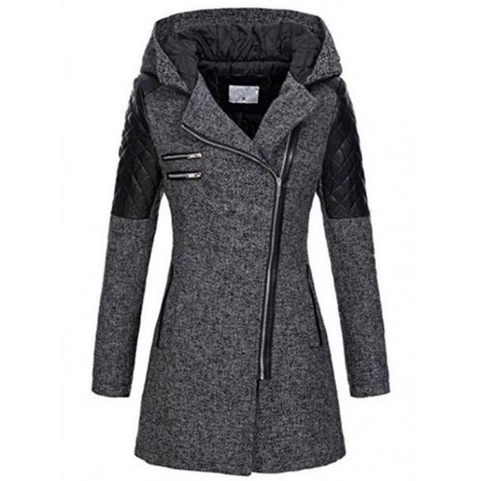 Long Sleeve Hooded Zipper Coats Jackets. Size (UK 10-12). Dark Gray: