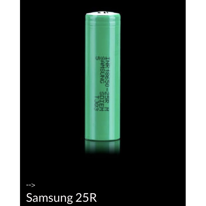 SAMSUNG 25R 18659 UNPROTECTED BUTTON TOP BATTERY