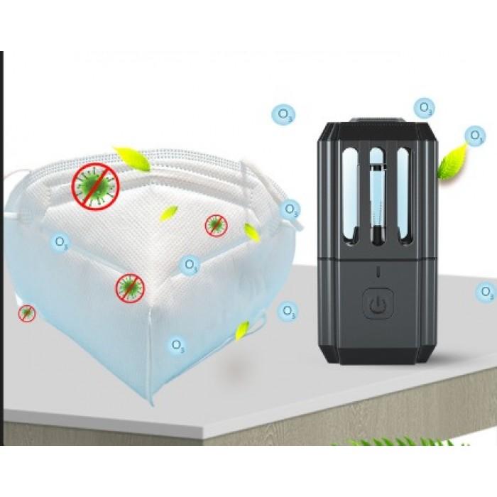 Portable UV Sterilizer Light Disinfection Lamp Double Sterilization by UV Light and Ozone - black