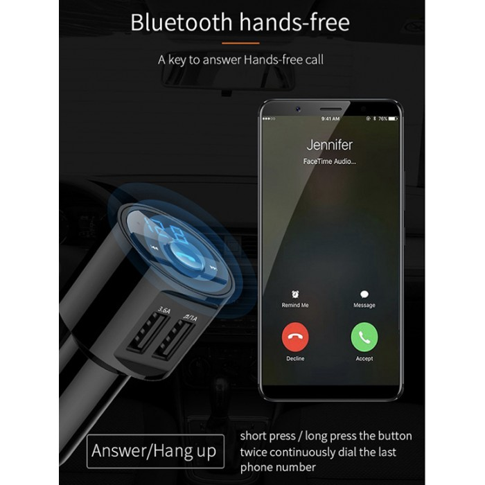BT28 Bluetooth FM Transmitter Car Wireless Handsfree Audio Adapter with Dual USB Port