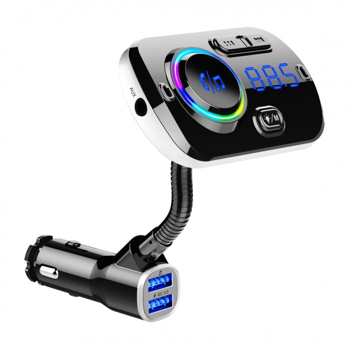 Bluetooth Car MP3 Player FM Transmitter Fast Charge Dual USB Breathing Atmosphere Light - Black