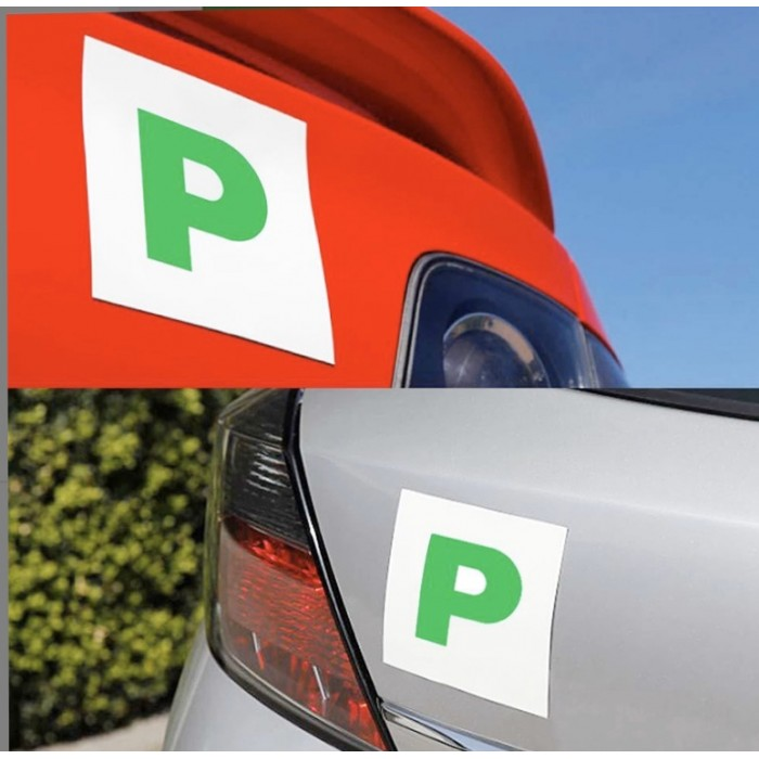 2 Fully Extra Strong Magnetic Exterior Car P Plate Sticker for New Learner Driver Just Passed