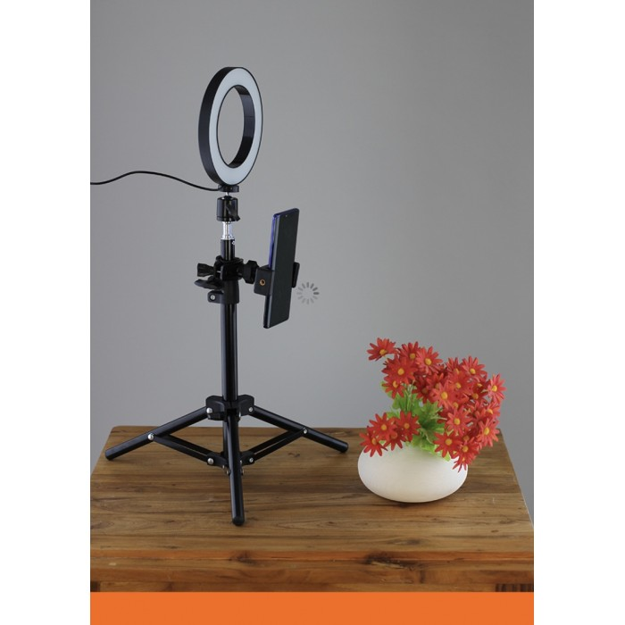 6 inch Tiktok youth dimmable LED ring light with tripod stand table top circle ring lamp camera phone video live broadcast
