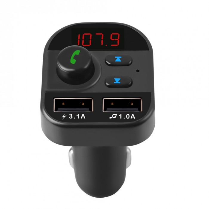 805E Bluetooth Car Kit Wireless FM Transmitter Hands Free Calling A2DP Music Playing Dual USB Car Charger