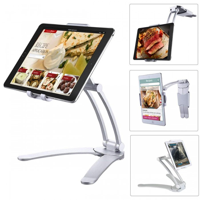 2-in-1 Adjustable Kitchen Tablet Desktop Stand iPad Wall Mount Holder for iPad 2018/iPad Mini etc.