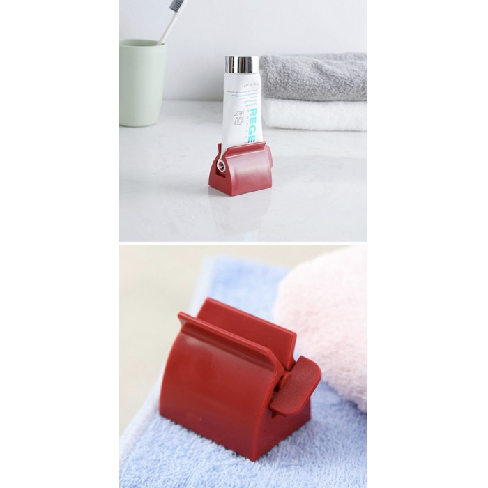 Toothpaste Squeezer Portable Facial Cleanser Squeeze Dispenser - Red